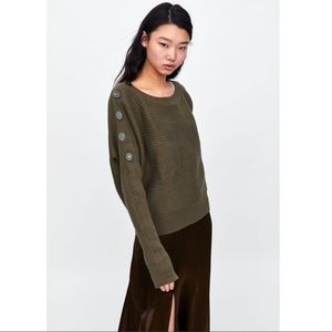Zara Ribbed Sweater with Buttons - Olive - S